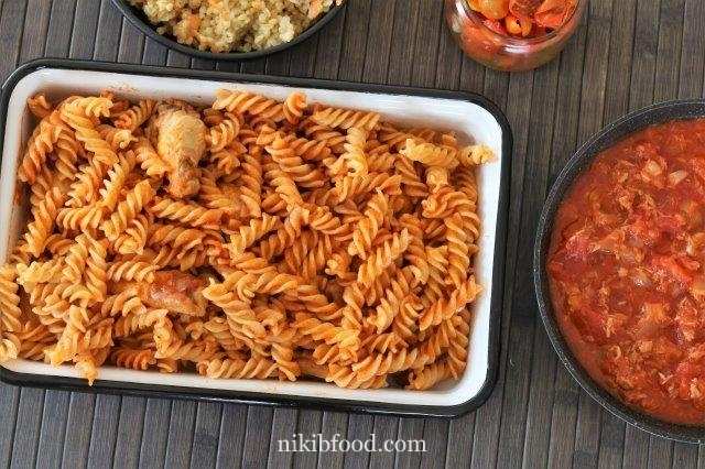 Stir fry wings and spaghetti
