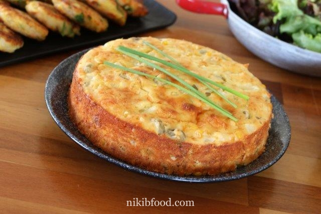 Crustless corn quiche