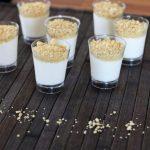 Mini cheese dessert in shot glasses