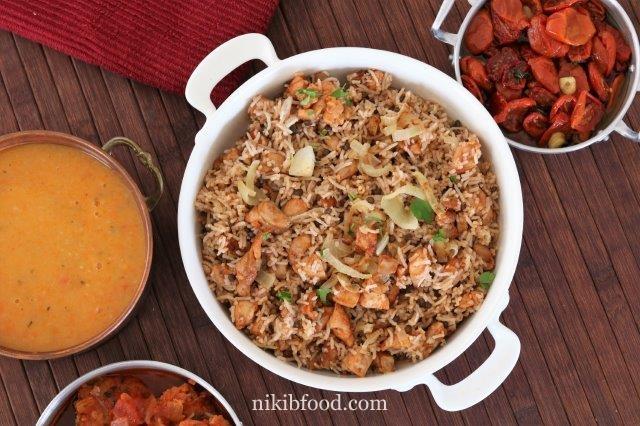 Mujadara with chicken