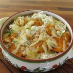Baked rice and vegetables recipe