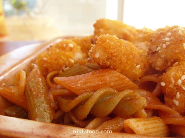 Schnitzel and pasta