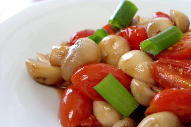 Sauteed mushrooms and cherry tomatoes