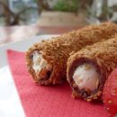 Wafer rolls stuffed with white chocolate