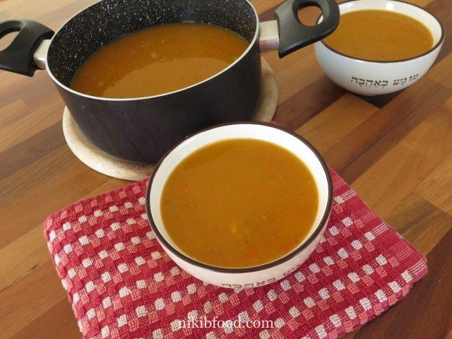 Sweet potato soup and carrots
