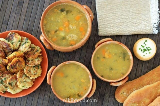 Chicken soup with lentils and vegetables