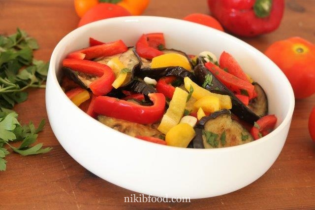 Marinated EggPlant and Peppers