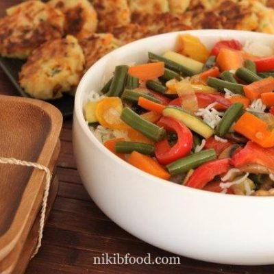 Stir fried rice and veggies