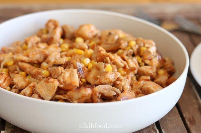 Boneless chicken thighs with corn