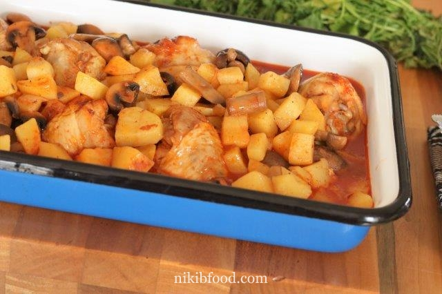 Chicken with mushrooms and potatoes