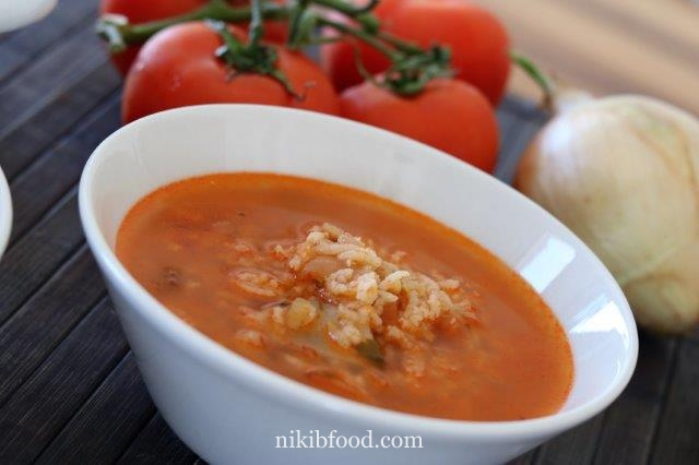 Rice and lentil soup