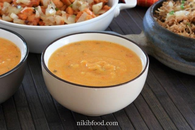 Sweet potato soup and carrot