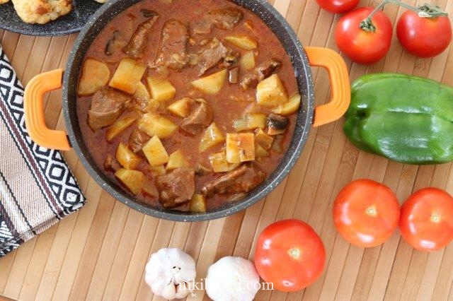 Beef stew with mushrooms and potatoes