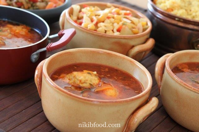 Vegetable soup with meatballs recipe