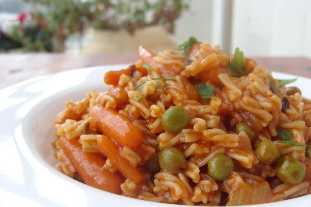 Israeli couscous with peas and carrots