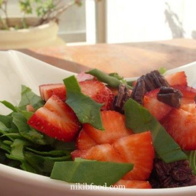 Spinach Leaves and Strawberry Salad