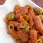 Sausages with noodles