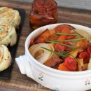 Oven roasted vegetables with honey and cinnamon