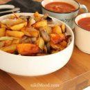 Baked potatoes and mushrooms
