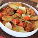 Baked chicken thigh cutlets and vegetables